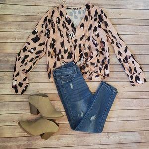 Leopard Front Tie Blouse